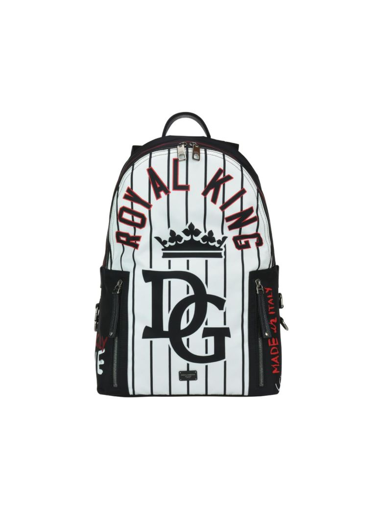 Nylon Vulcano Royal King Striped Backpack in Hwt26 Bianco Nero from DOLCE & GABBANA