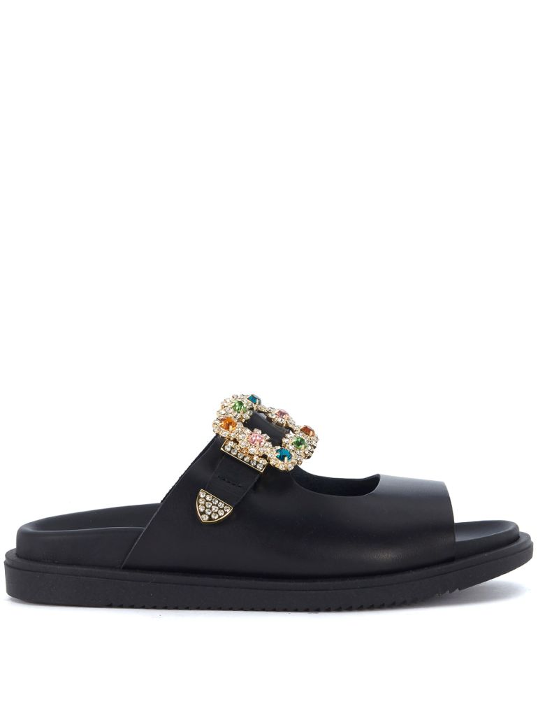 TIPE E TACCHI BLACK LEATHER SANDAL WITH JEWEL BUCKLE