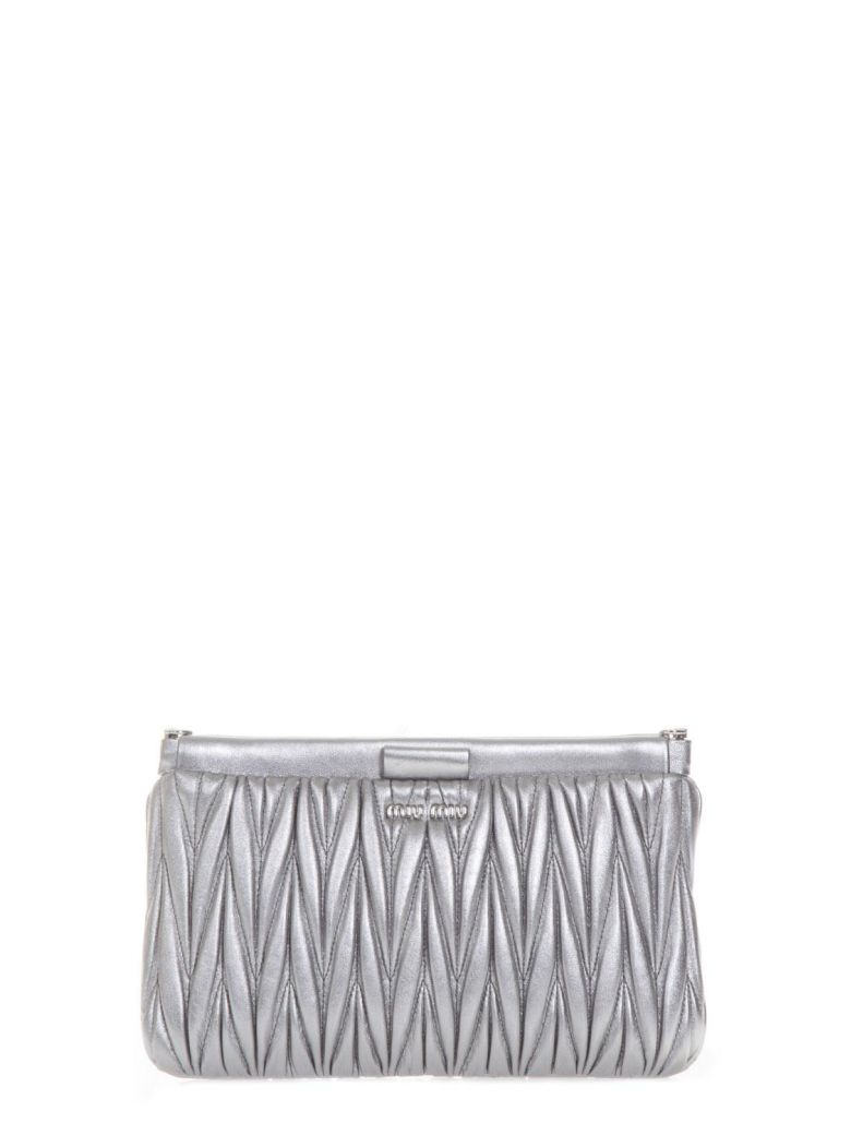 CHROME QUILTED LEATHER CLUTCH