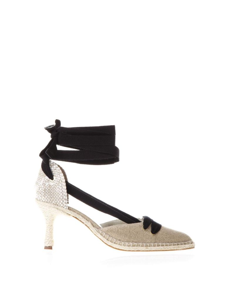 CASTAÑER BY MANOLO BLAHNIK Sand Satin And Juta Espadrilles With Heels in Arena