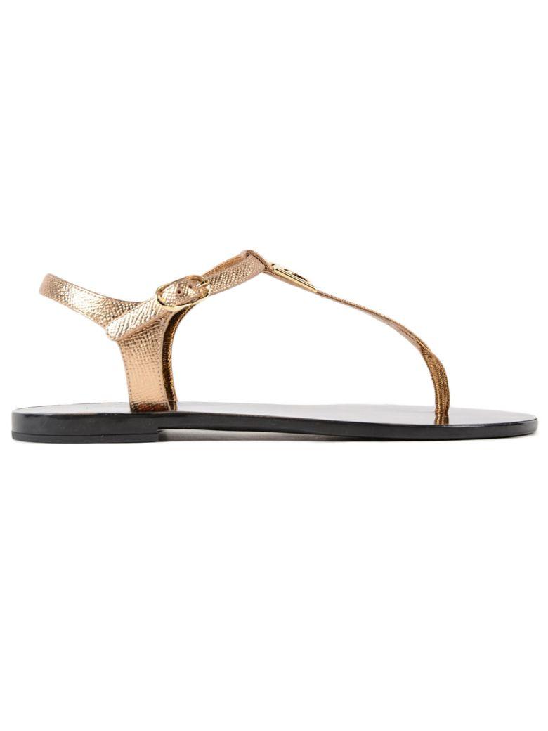 Logo-embellished Metallic Textured-leather Sandals - Gold Dolce & Gabbana Sale Factory Outlet bOcjLCT2l