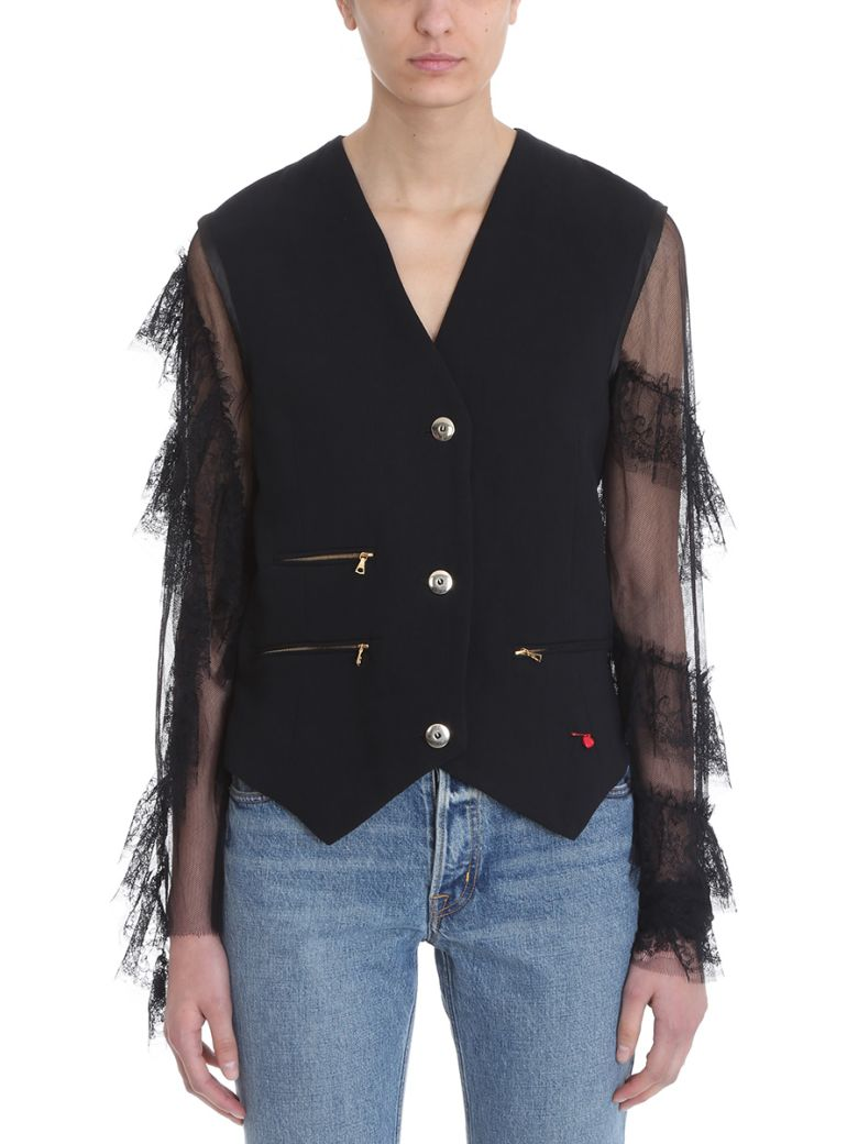 GIACOBINO BLACK LINEN AND COTTON BLEND LACE SLEEVE JACKET