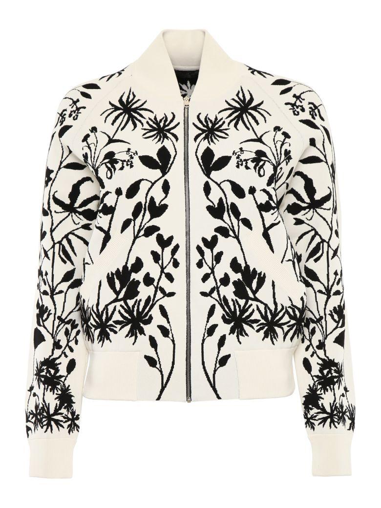 Alexander McQueen Botanical Knit Bomber Jacket - IVORY BLACK|Bianco