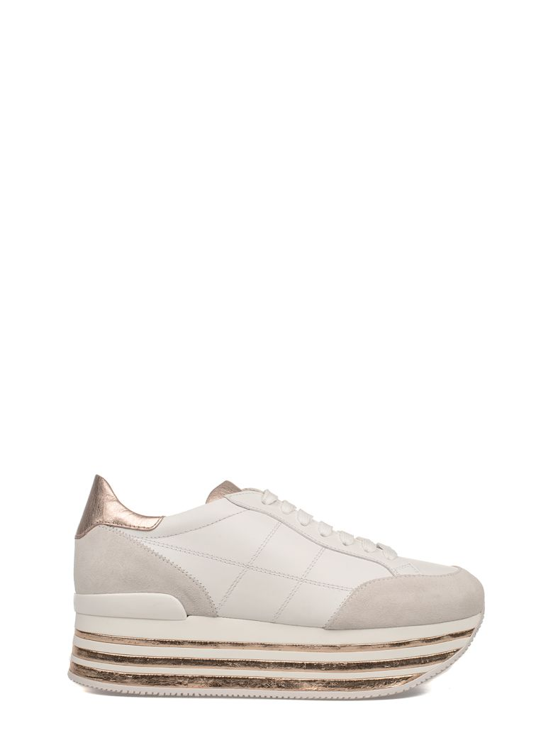 WHITE-PINK H349 MAXI WEDGE SNEAKERS