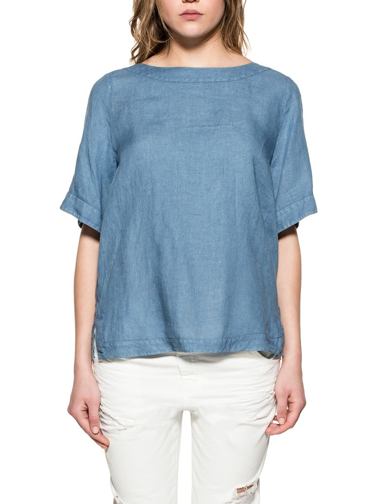 Xacus AVION BLUE FIAMMA LINEN TOP