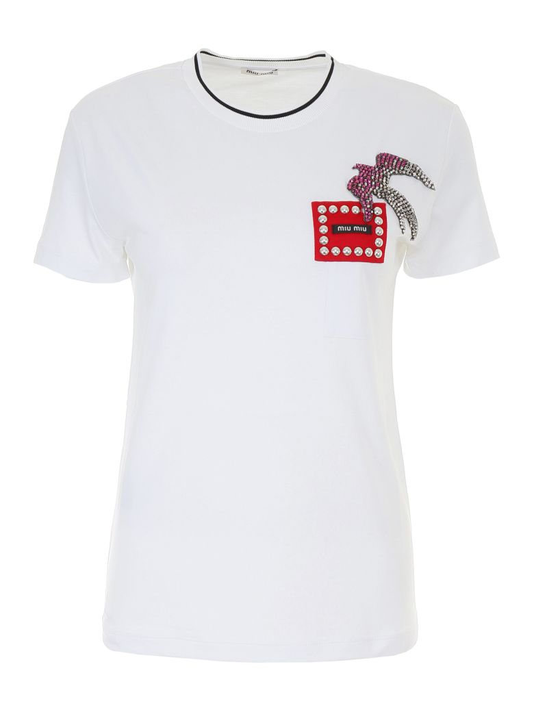 Cotton Jersey T-Shirt With Patch in White