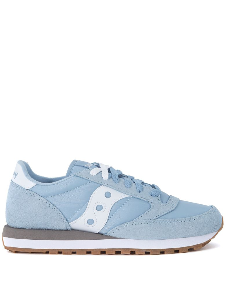 JAZZ LIGHT BLUE AND WHITE SUEDE AND NYLON SNEAKER