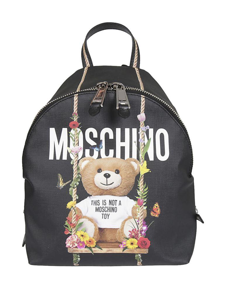 Safety Pin Teddy Small Backpack in Black