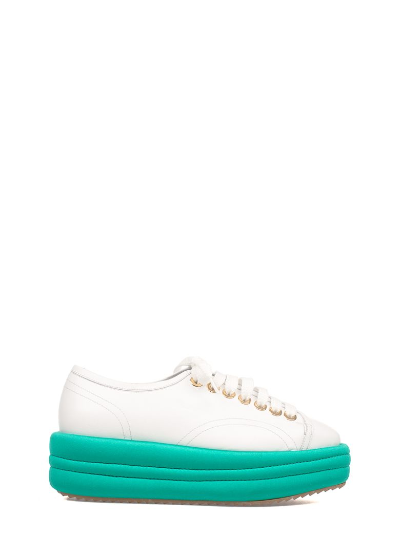WHITE-TEAL BLUE LEATHER WEDGE SNEAKERS