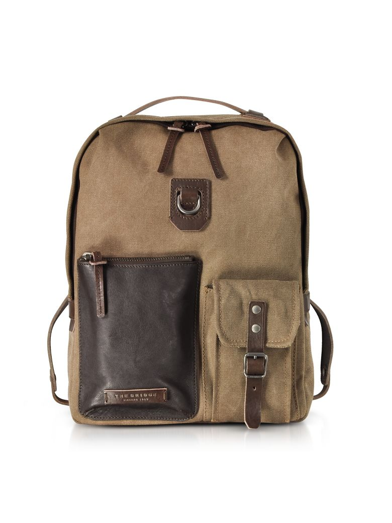THE BRIDGE CARVER-D CANVAS AND LEATHER MENS BACKPACK W-TOP ZIP