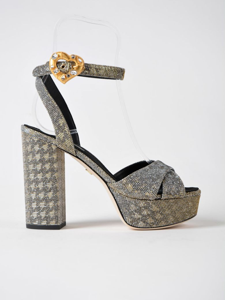 Sandal Keira In Lurex Fabric Color Silver / Gold in Metallic
