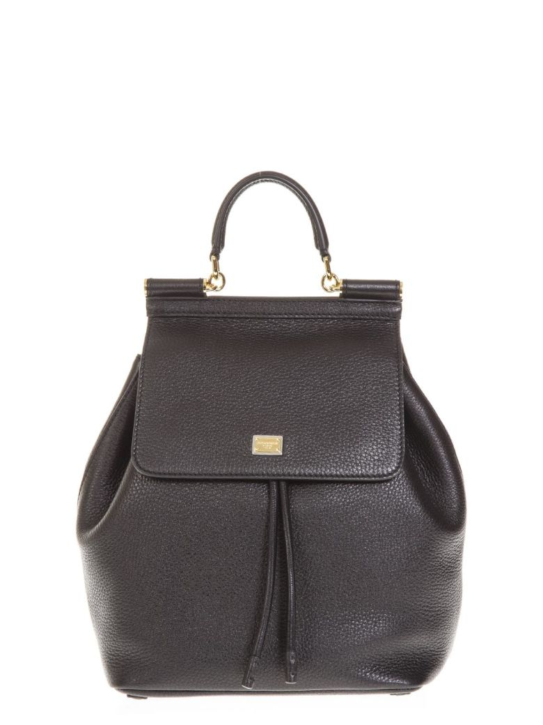 SMALL SICILY BLACK LEATHER BACKPACK