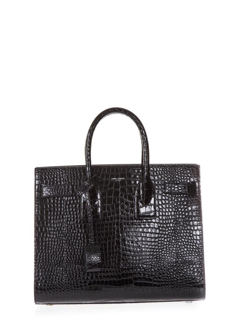 BLACK SMALL SAC DU JOUR BAG IN CROCODILE TULIP PRINT