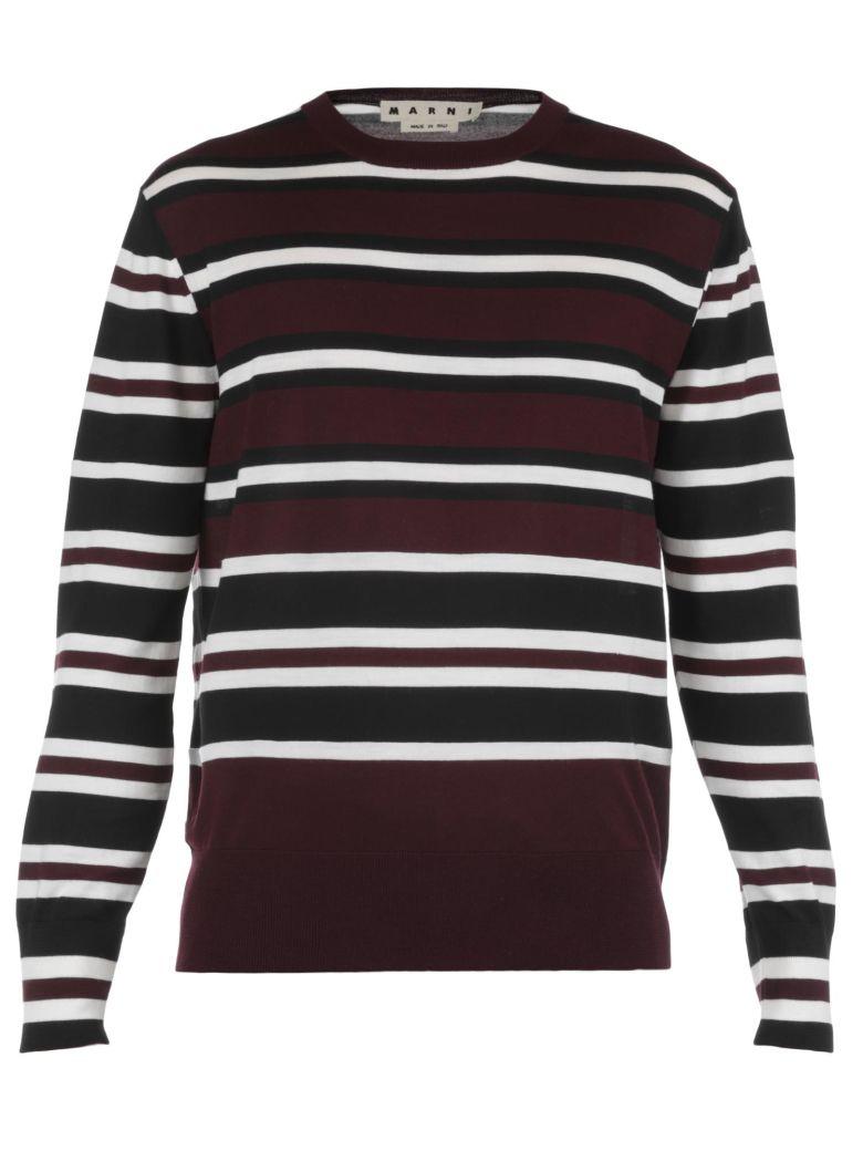 MARNI Wool Sweater, 003F White-Black-Bordeaux Str.