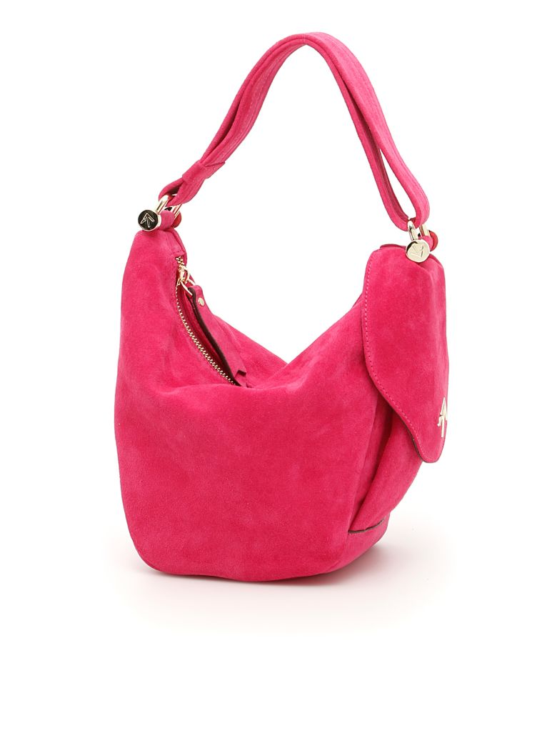 Suede Micro Fernweh Bag in Fuxia Suede Leather|Fuxia