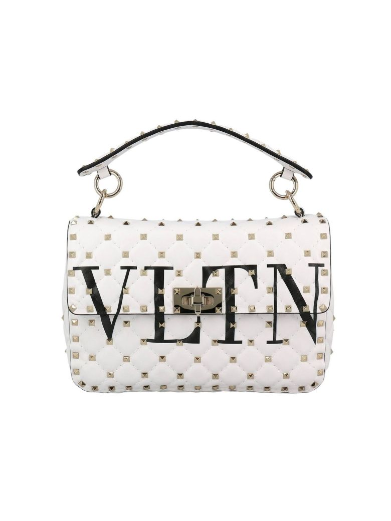 HANDBAG VALENTINO ROCKSTUD SPIKE BAG IN GENUINE LEATHER WITH MICRO STUDS AND SHOULDER STRAP