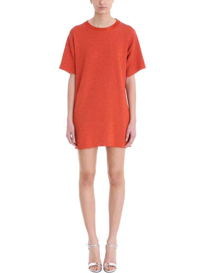 Laneus ORANGE LUREX DRESS