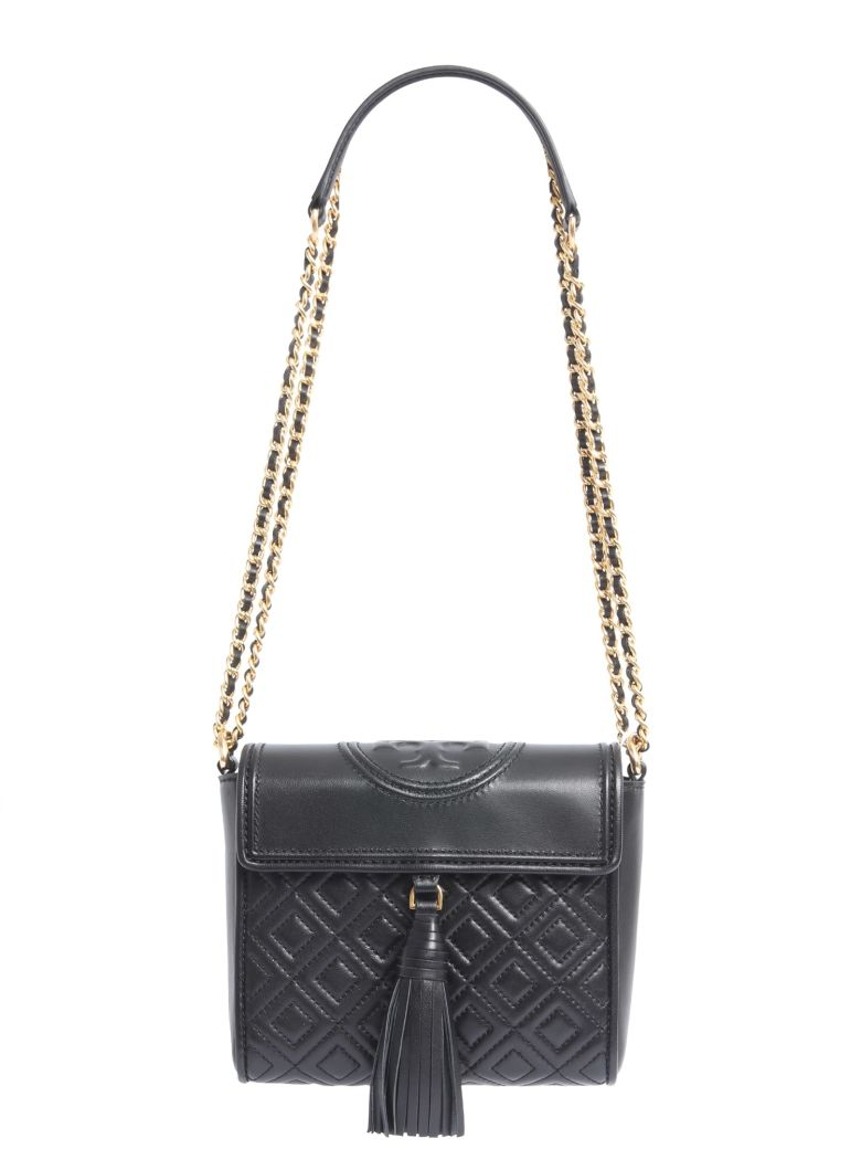 Tory Burch Fleming Convertible Quilted Leather Box Crossbody Bag In Convert Medium Black Core