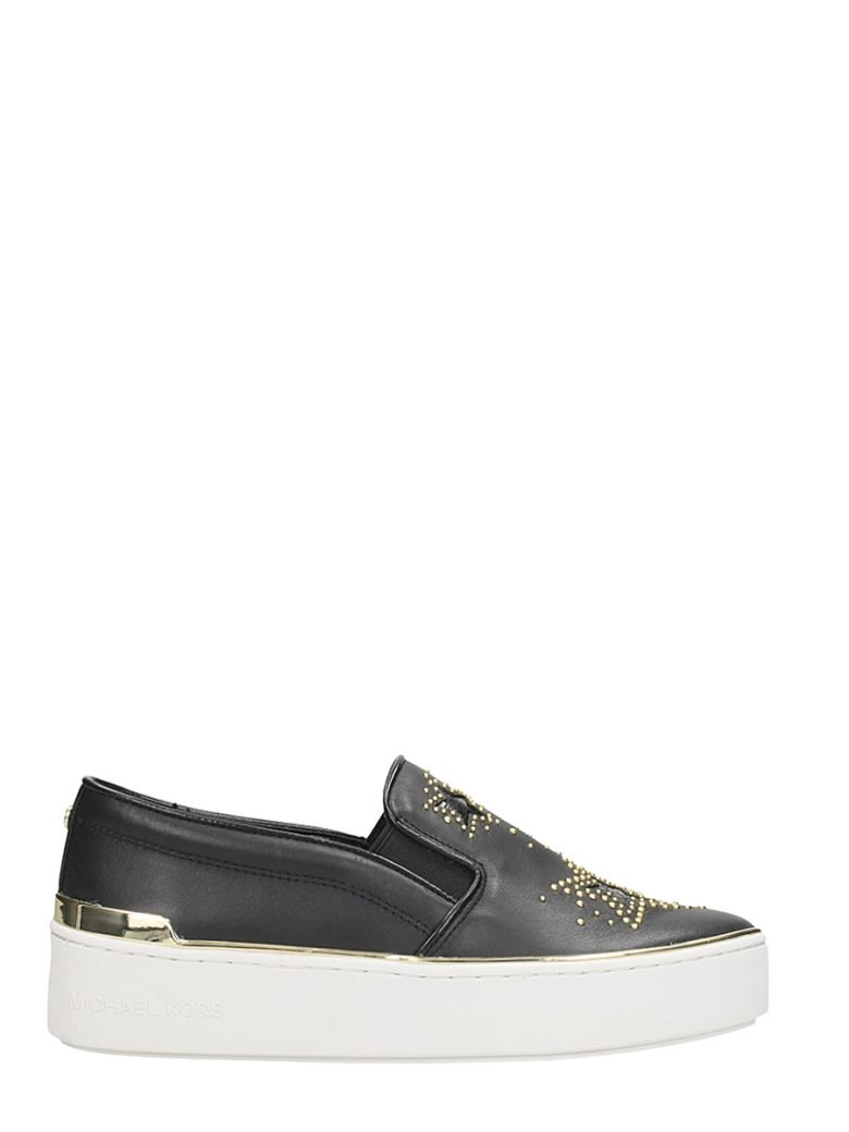 TYSON SLIP ON BLACK LEATHER SNEAKERS