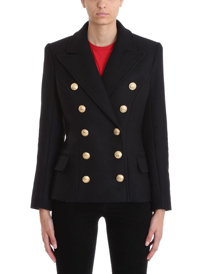 BLACK WOOL AND CASHMERE PEA COAT