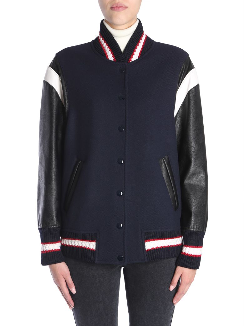 Appliquéd Faux-Leather And Wool Varsity Jacket, Nero