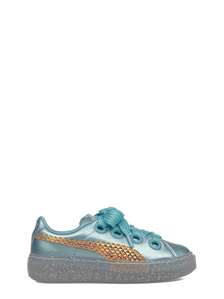 TURQUOISE PLATFORM GLITTER PRINCESS LEATHER SNEAKERS