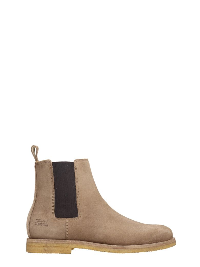 NATIONAL STANDARD BEIGE SUEDE CHELSEA BOOTS