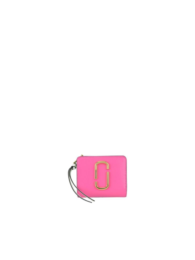 Black Snapshot Mini Saffiano Leather Purse, Vivid Pink Multi