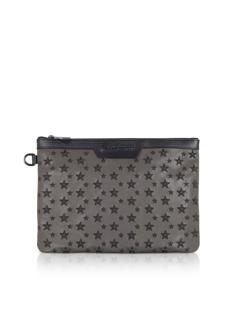 SMOKE-BLACK DEREK-S SMALL CLUTCH W-STARS