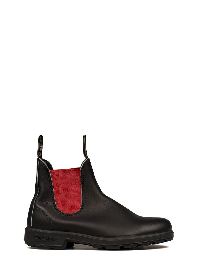 BLUNDSTONE BLACK-RED LEATHER LOW BOOT