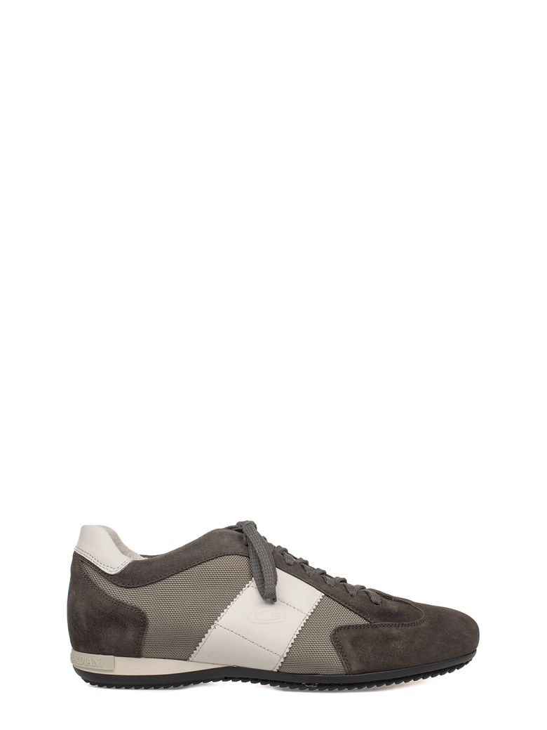 ALBERTO GUARDIANI GRAY-WHITE SPORT MAN SUEDE SNEAKERS