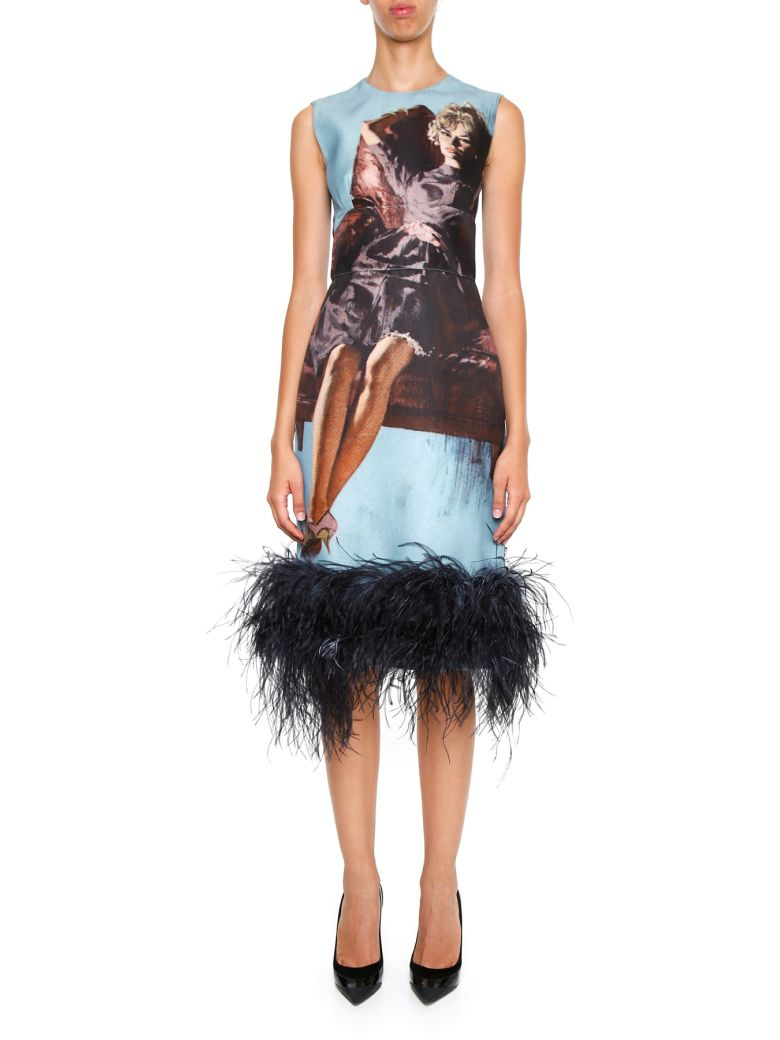 Feather-trimmed Printed Wool And Silk-blend Dress - Blue Prada Discount Visa Payment Clearance Wiki Cheap Online Store Manchester Outlet How Much LiOnGg