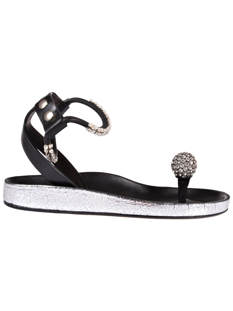 Ecly Crystal-embellished Smooth And Cracked-leather Sandals - Silver Isabel Marant DS7hSM1s5