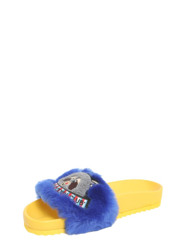 MIRA MIKATI Eco pelliccia sliders with patch