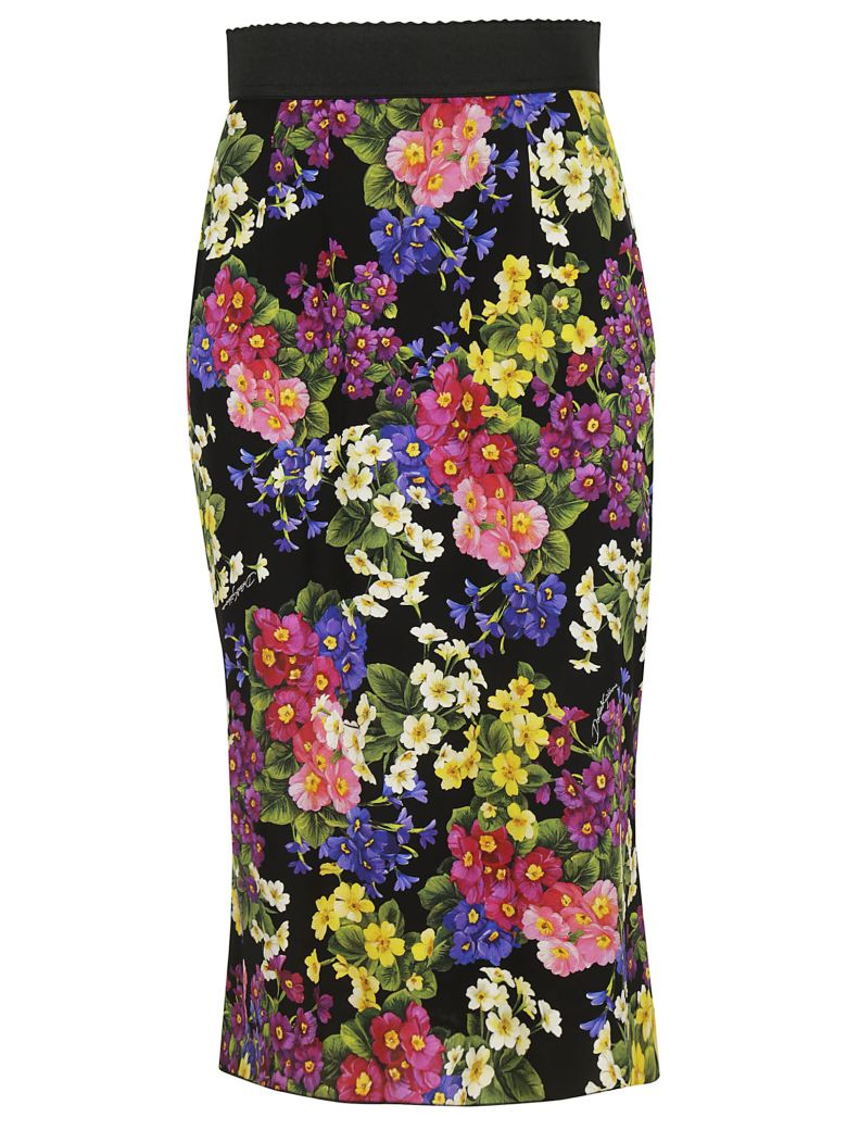 Floral Stretch Silk Pencil Skirt in Black