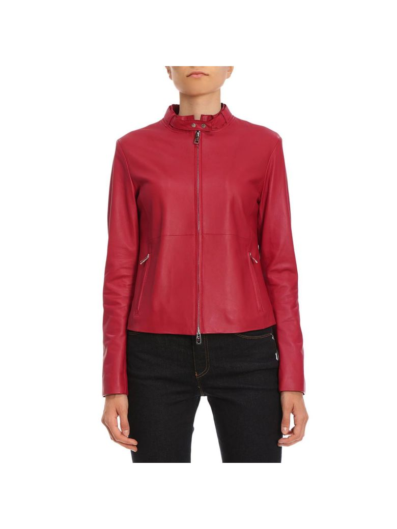 Emporio Armani Fitted Biker Jacket - Red