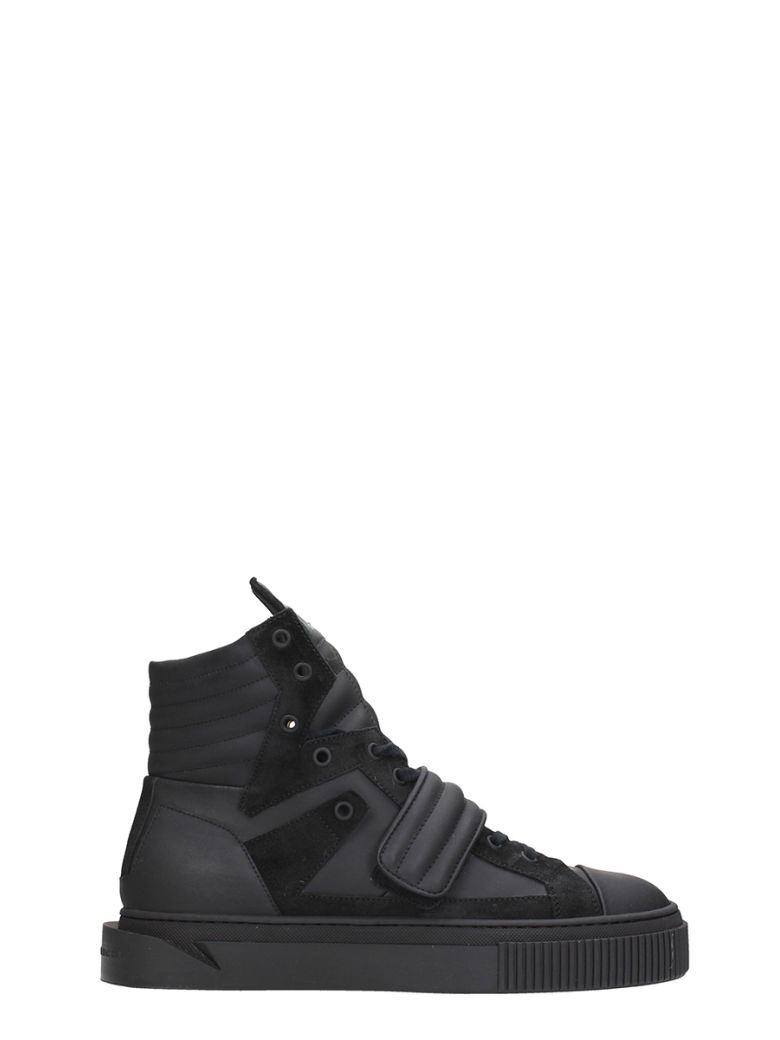 GIENCHI HYPNOS BLACK RUBBER AND SUEDE SNEAKERS