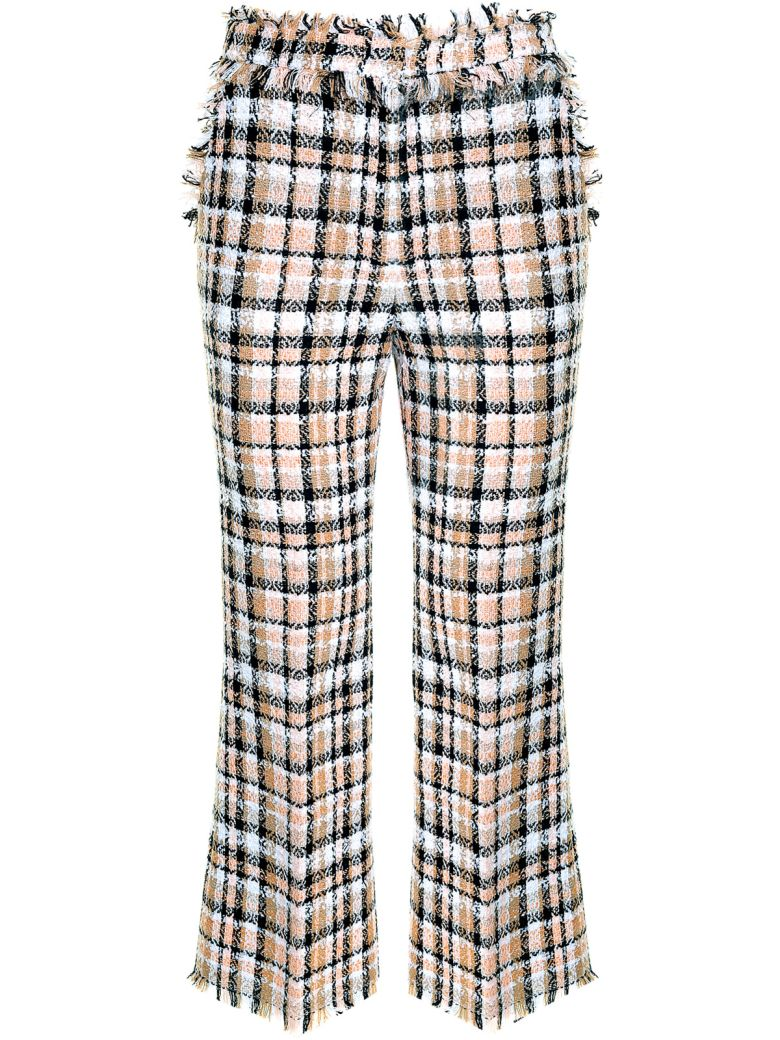 FRINGE-TRIMMED DOUBLE-LAYER TWEED TROUSERS
