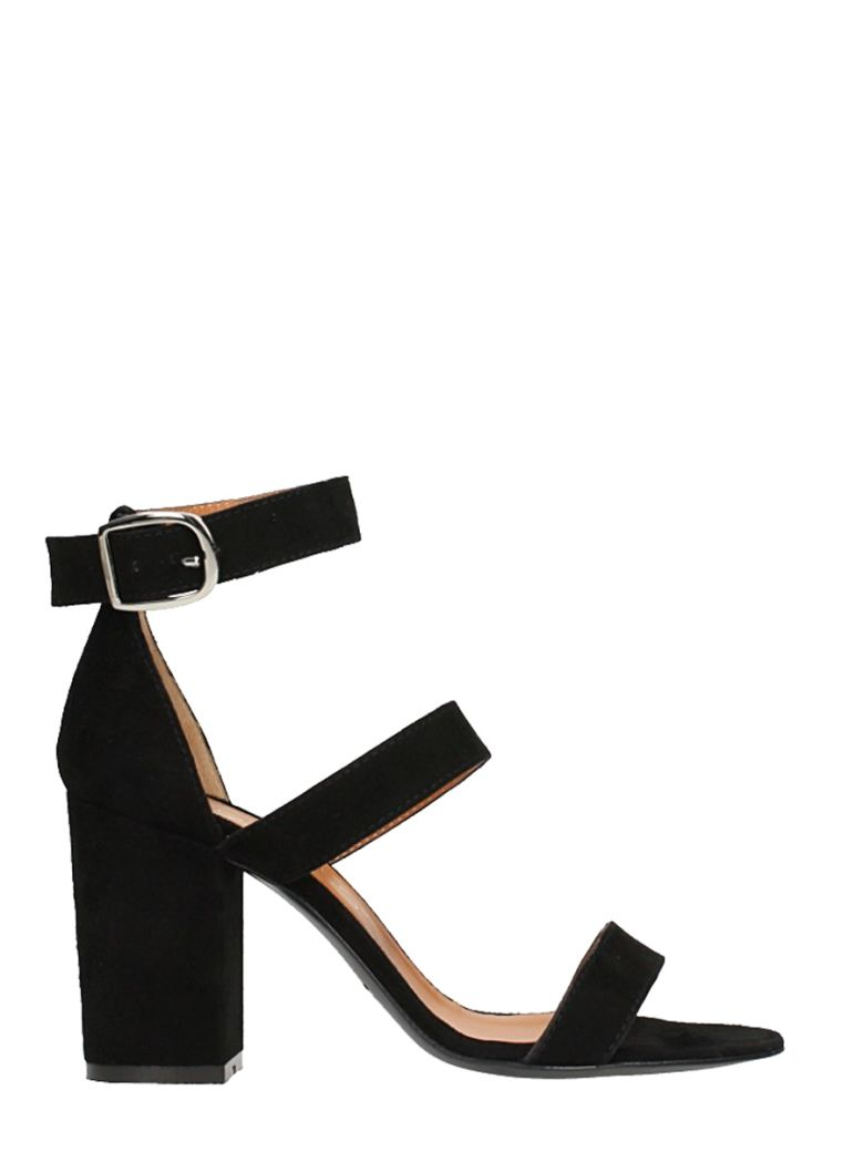 1c362dc38ddfe Via Roma 15 Black Suede Sandals