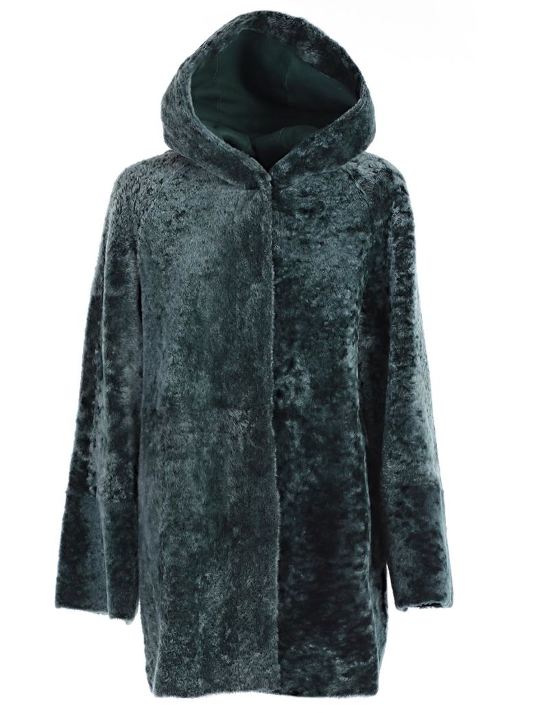 Drome Montone Hooded Coat, Green