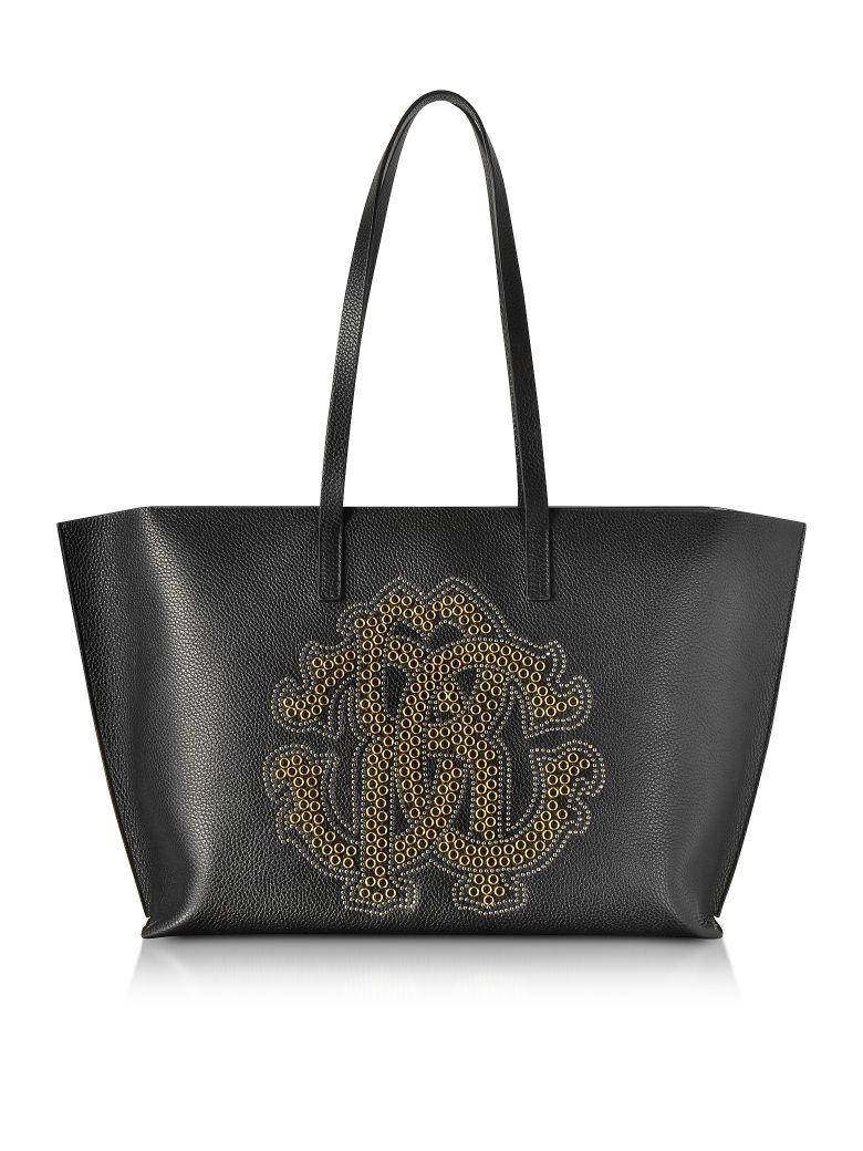 BLACK LEATHER UNISEX TOTE BAG W-GOLD STUDS RC LOGO
