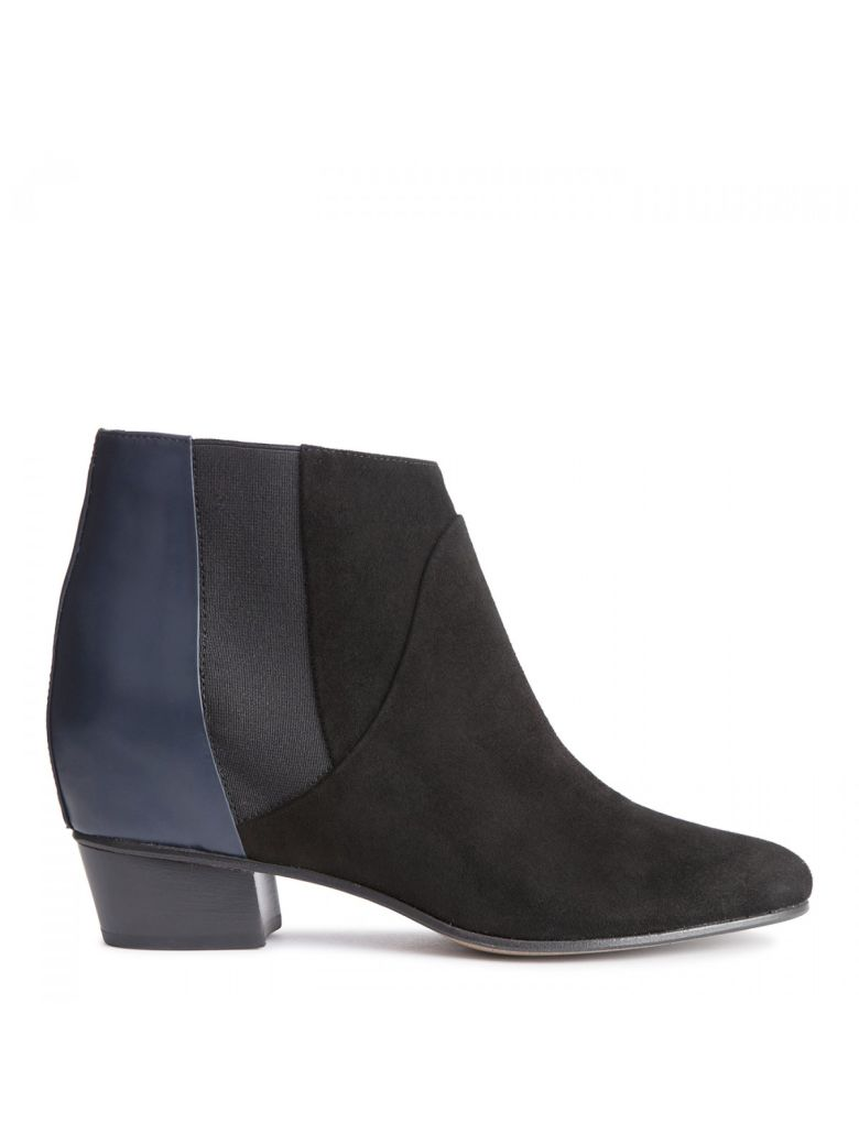Dana Ankle Boots, Midnight Rubber Leather Black
