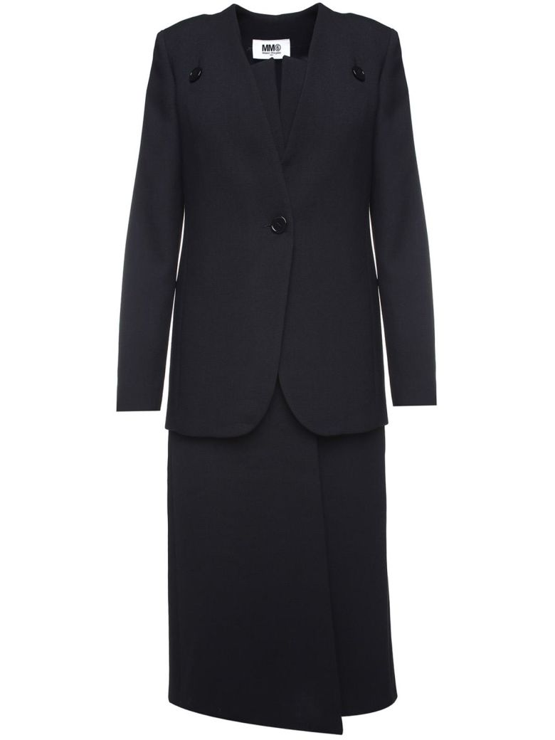 Two-Piece Wool-Blend Suit, Nero