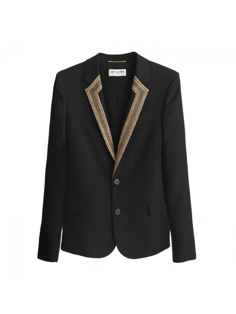 EMBROIDERED LAPEL BLAZER