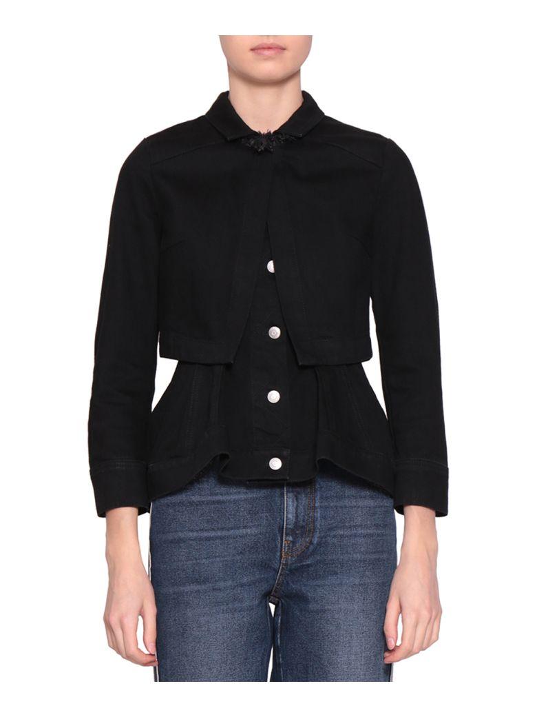 Layered Grosgrain-Trimmed Denim Jacket in 1000 - Blac