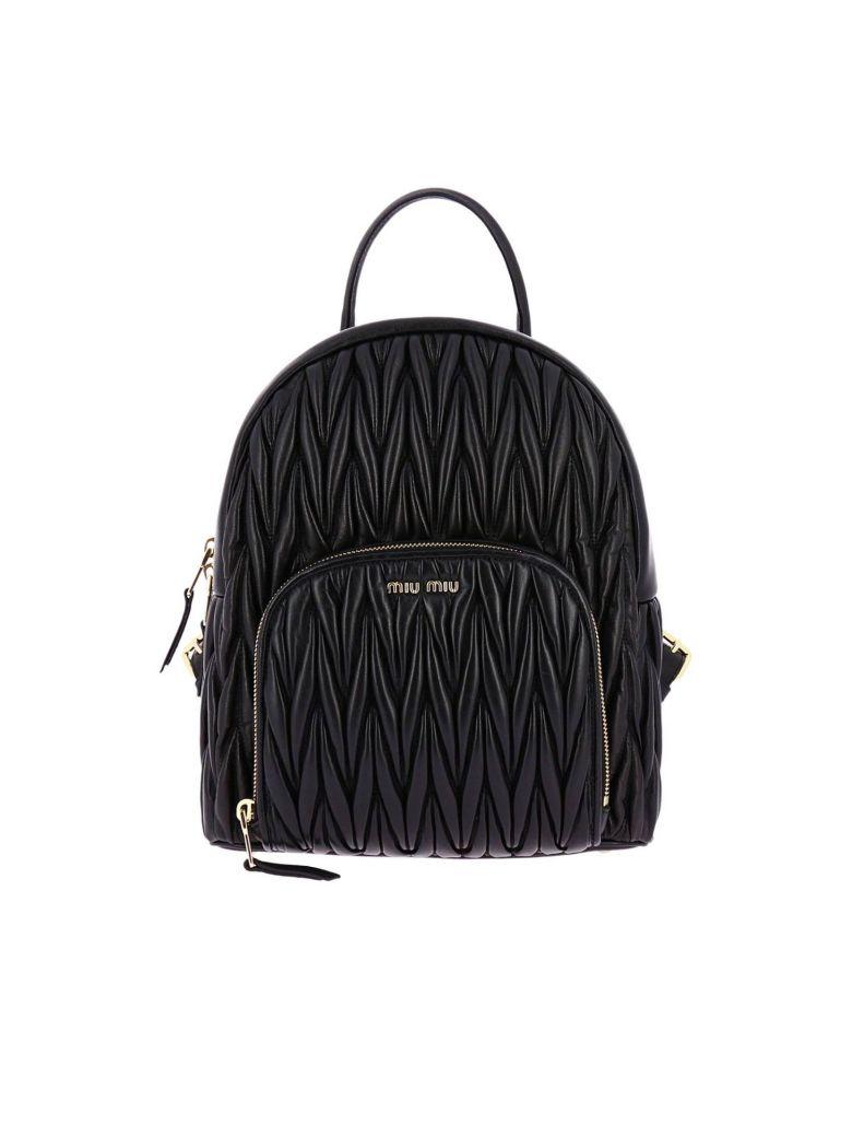 Matelassé Leather Backpack, Black