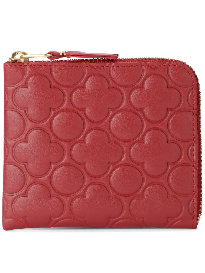 COMME DES GARCONS WALLET PRINTED RED LEATHER WALLET
