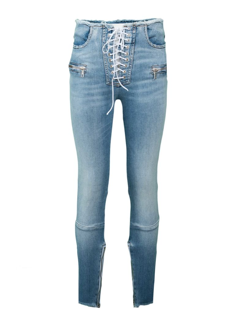 LACE UP FRONT SKINNY JEANS