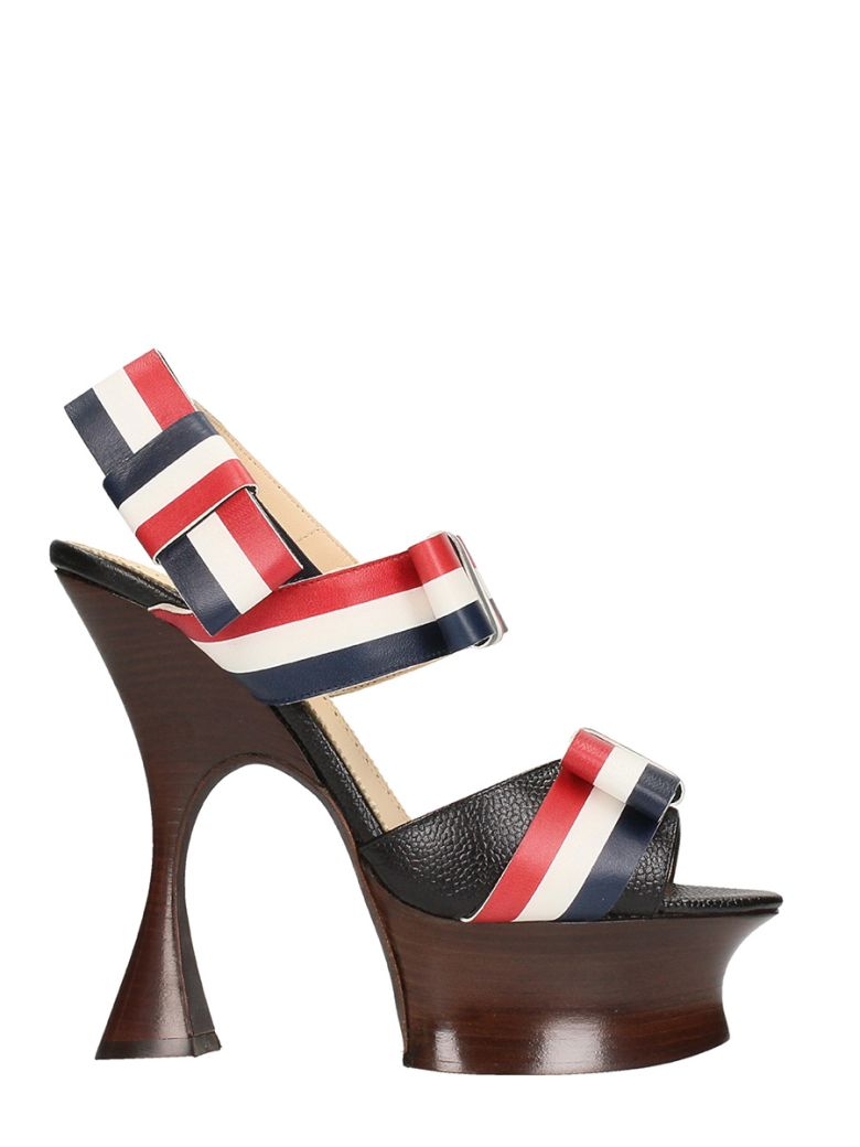 THOM BROWNE OPEN TOE SHAPED PLATFORM SANDALS