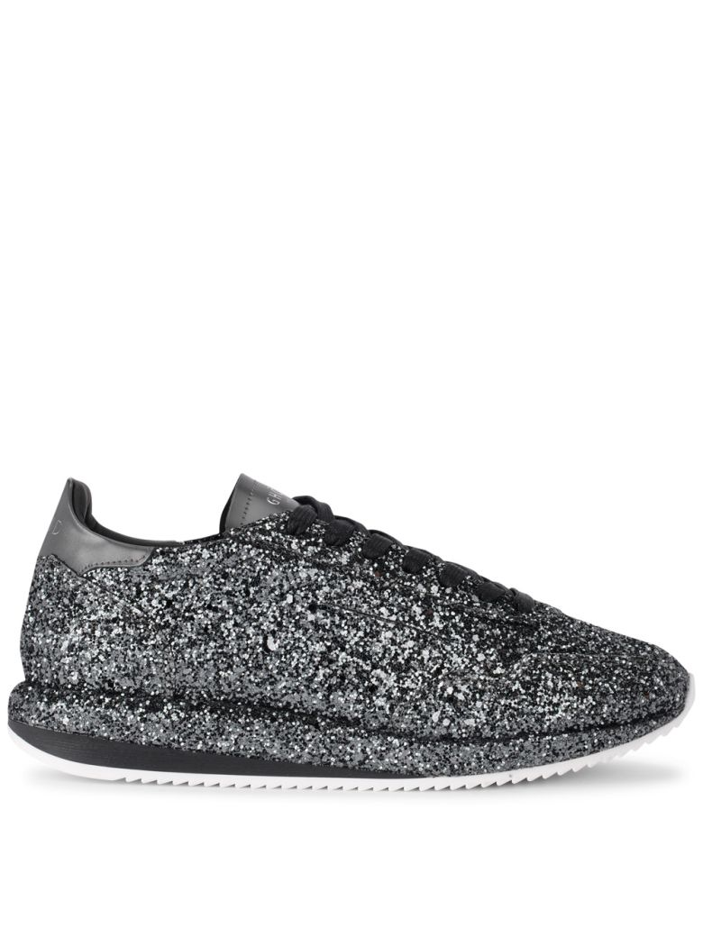 GHOUD GLITTER AND BLACK LEATHER SNEAKER